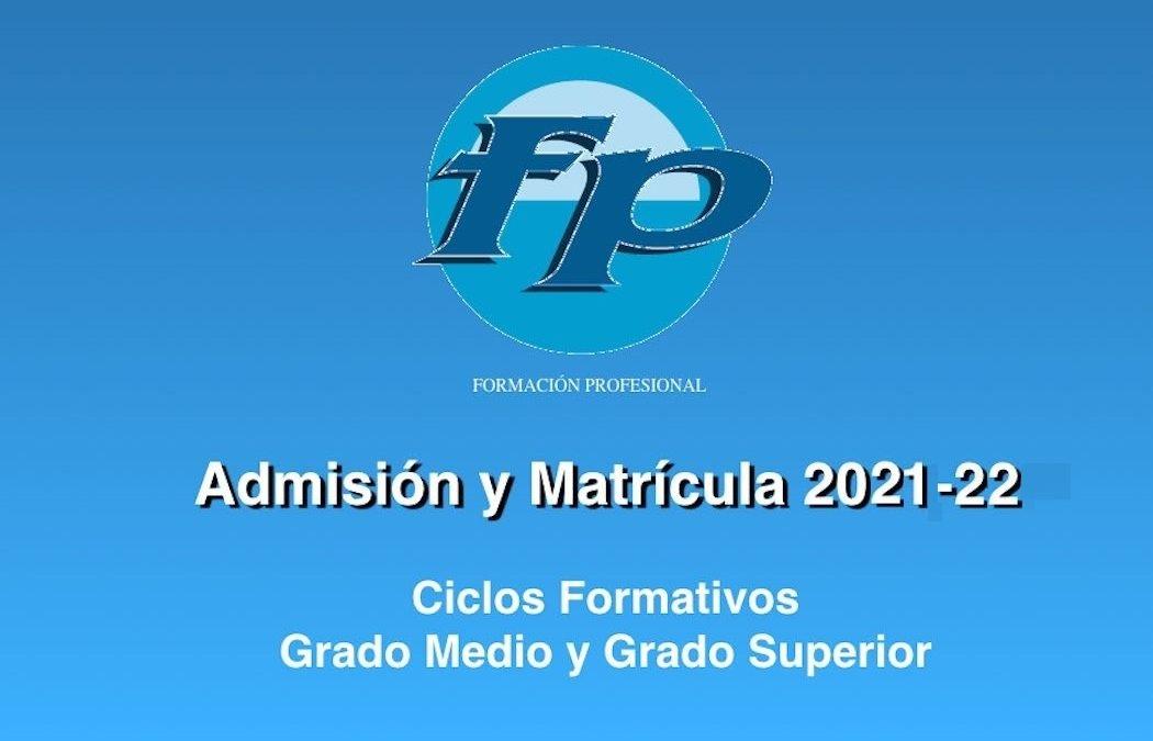 Abierto el plazo de matriculación para Ciclos Formativos de Grado Medio y Superior, 21 a 27 de Julio.